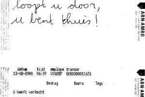 """August 13, 2000 """"loopt u door, u bent thuis"""""""