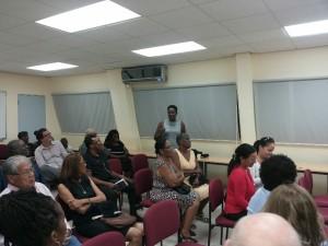 Cousin Janett (standing) addressing audience on the Libert's family.